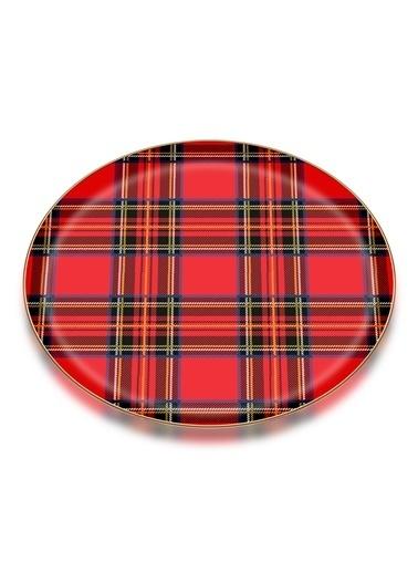 Glore Ekose Kırmızı Parlak Altın Cam Tepsi Renkli